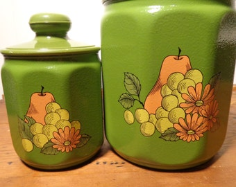 Vintage Kromex Aluminum Canisters  -  Green Kromex Canisters  - 17-044