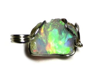 African Opal Pendant (6.5 ct) Ethiopian White Opal in Sterling Silver, Sterling Silver African Opal Jewelry, Rough Opal Jewelry, Opal Gift