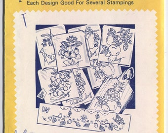 Various FRUIT and HERB Designs - Hot Iron Embroidery Transfers - Aunt Martha's - New & Uncut in OPENED Packaging - On Sale!