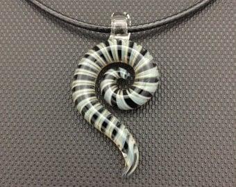 Glass Pendant // Blue, Black & Grey Curl // Black Adjustable Necklace