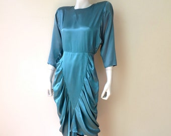 """Vintage 1940's Style Dress/Blue Satin Evening Dress/1980's Does 1940's Dress/All That Jazz/26"""" Waist/Small"""
