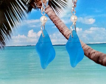 Pacific blue conch shell tumbled sea glass beads white pearl beach earrings silver wire wrapped coastal jewelry
