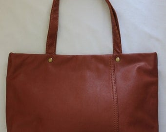 Brown tote bag , Rich brown luggage color tote bag***FREE SHIPPING TO U.S.A. address only***