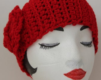 Hand Knitted Red Head Band,  Ear Warmer
