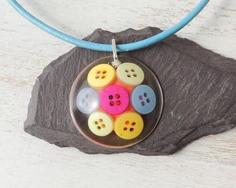 Buttons Pendant on Blue Leather Necklace, Primary Colour Buttons Resin Pendant, Resin Jewellery, Button Jewellery, UK. 504a