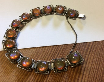 Vintage Dragon's Breath Opal Bracelet, Fire Opal Glass Bracelet,