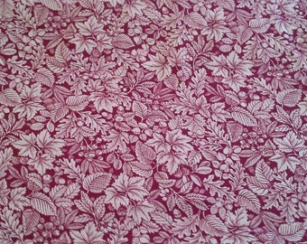 Leaf Print in White on Dark Red Cotton Fabric 1 Yard X0748 Quilt Cotton, Quilting Fabric