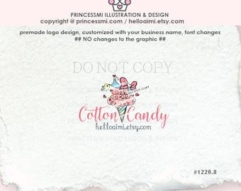 1220-8 candy cotton logo, sweet Candy logo, sweet bow logo, premade logo, girl business boutique logo by princessmi