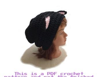 Cat Hat Pattern, Crochet Cat Pattern, Slouchy Cat Hat, Cat Crochet Pattern, PDF Crochet Pattern, Crochet Hat Pattern, Kawaii Cat Cat Cosplay