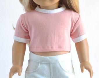 American Made Clothes - Blush, Crop Ringer Tee, T-Shirt, Top, Shirt, 18 inch, Modern, Trendy