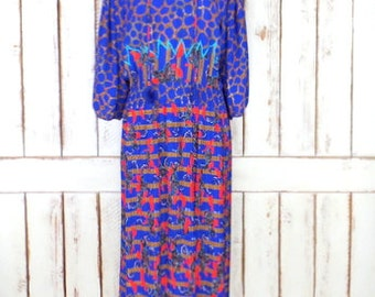 Vintage Diane Fres Original blue/red pleated sheer floral striped dress/billowy sleeve long 80s dress/boho dress