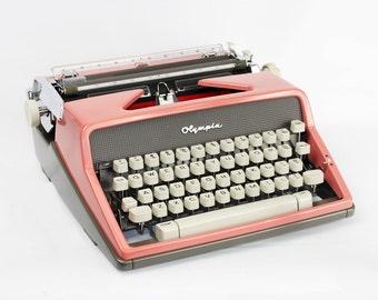 Vintage Pink Typewriter Olympia DeLuxe SM-7 Manual Typewriter Fully Serviced Working Typewriter