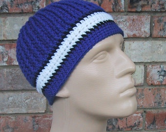 Beanie in Team Colors - Indianapolis Colts - Royal Blue & White - Mens Size Small/Medium - Hand Crocheted - Soft Acrylic Yarn - Great Gift