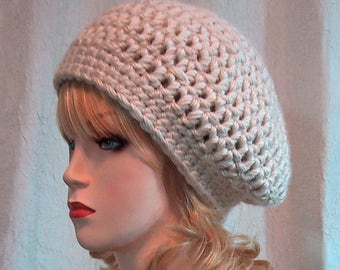 Ladies/Teen Slightly Slouchy Beanie in Light Tan / Ivory - Size Small Chemo Cap - Thick Chunky Soft Acrylic Yarn Crocheted - Ready To Ship