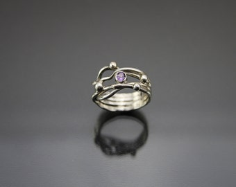 size O ring, size 7 ring, amethyst and silver ring, faceted gemstone ring, solitaire ring, statement ring