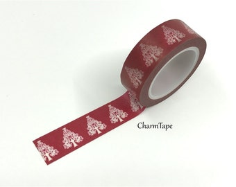 SALE White Christmas Tree on Red Washi Tape 15mm x 10m WT502
