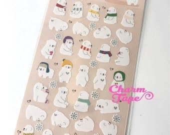 Funny Cozy Polar Bear Sticker 1 Sheet SS511