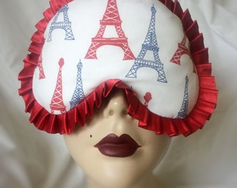 Ready to ship - Paris Eiffel Tower cotton print red satin trim  Pinup Burlesque by Love Me Sugar