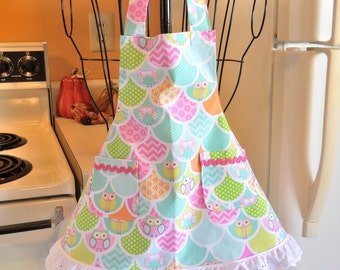 Toddler Girls Apron with Happy Owls