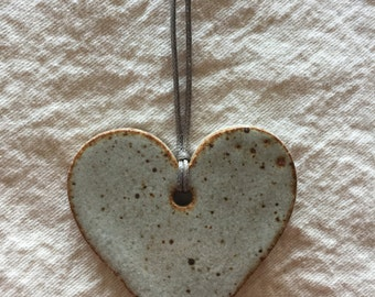 Ceramic Heart Ornament - Speckled Grey