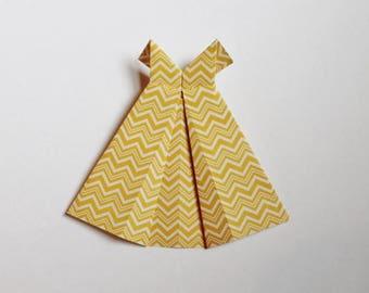 "Small Origami Dress 5"" x 5 1/2"" yellow chevron print"