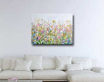 Large Floral Wall Art, Canvas Meadow Art, Abstract Floral Meadow Canvas Print, Giclee Print, Large Floral Art Painting, Pink Green Canvas