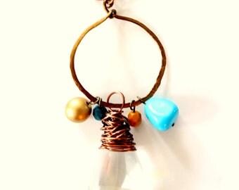 Vintage Crystal Necklace, charm necklace, copper necklace,