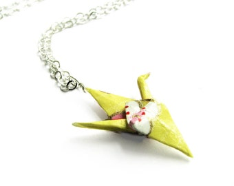 Paper Crane Necklace Delicate Yellow Origami Crane Necklace