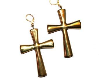 Vintage Large Gold Cross Earrings - Catholic Christian Gothic Gold Brass 10k Gold Plated Huge Cross