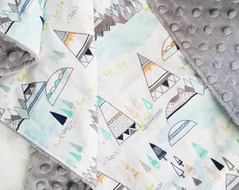 Minky Baby Blanket, Teepees and Foxes Pine, Personalization Options Available, faux fur baby blanket, satin trim baby blanket