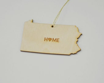 Natural Wood HOME Pennsylvania State Ornament