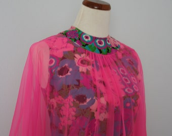 Vintage Dress / 60's Maxi Dress / Psychedelic Groovy Mumu / Party Dress / Small / Hot pink floral / Sheer gauze / 1960's Caftan / Women's