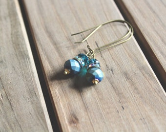 Matte peacock blue, rhinestone, and glossy peacock blue glass bead drop earrings, kidney wire earrings