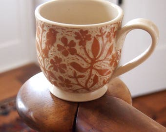 Brown and White Cup, Handmade in Stoneware with Hand Carved Designs of Birds and Flowers