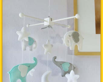 Baby Mobile, Baby Crib Mobile, Children Decor, Elephant Mobile, Starry Night Cot Mobile, Moon Star Cot, Turquoise Green Gray White