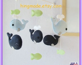 Baby Mobile, Nursery Decor, Whale Mobile, Ceiling Hanging Mobile - Navy Blue Green,Custom Mobile