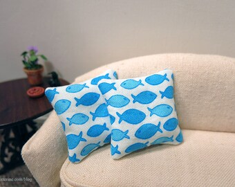 Seaside Blue Fish pillows - set of two - dollhouse miniature