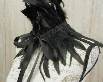 Steampunk Long Feather Collar, Gothic collar, Neck, Chocker, Custom Color