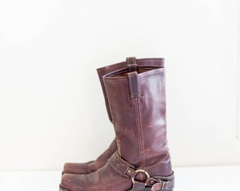 FRYE red brown leather harness boots - men's size 10 motorcycle boots