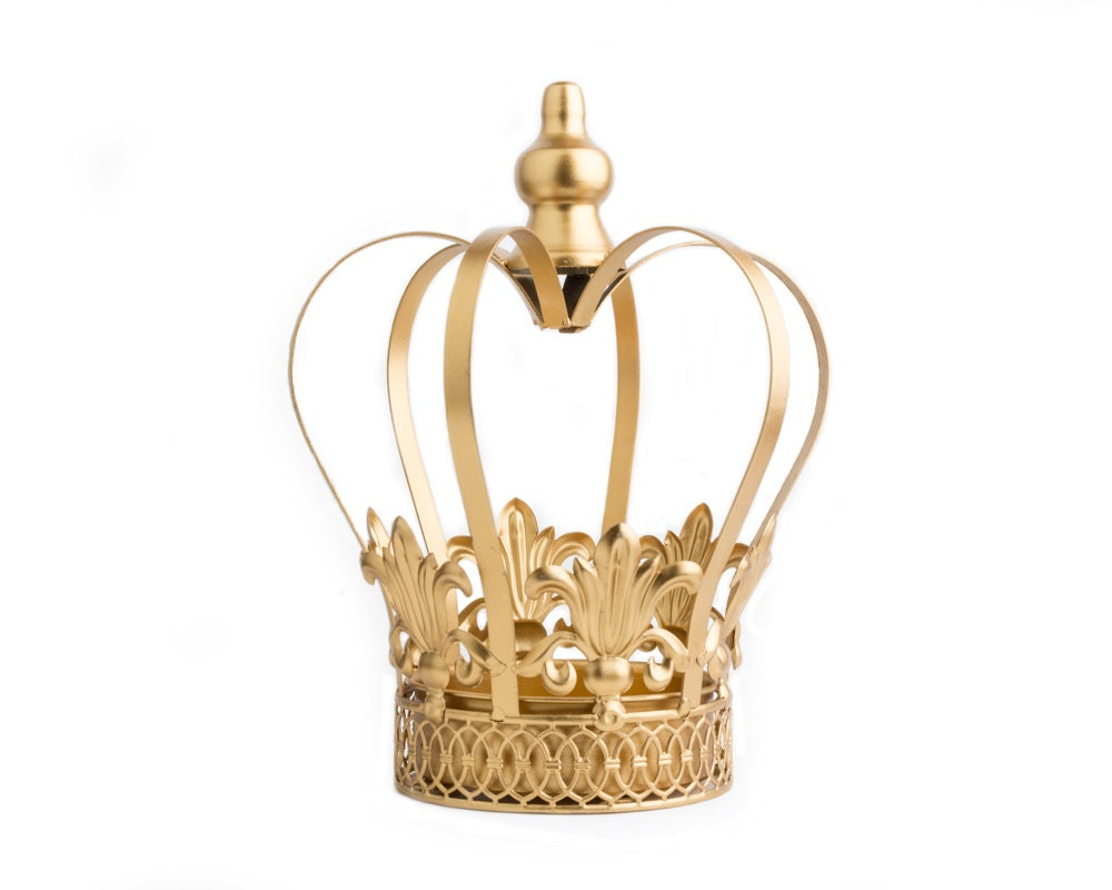 Gold crown centerpiece large wedding cake topper
