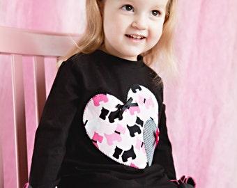 Scottie Puppy Appliqué Ruffle Tunic Top / Scottie Puppy Heart Appliqué  Ruffle Shirt / Long Sleeve Ruffle Shirt for Girls