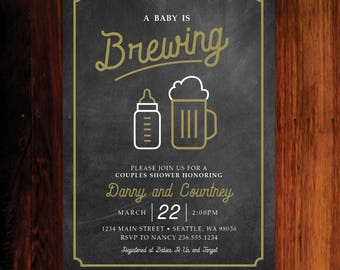 A Baby is Brewing Invitation, Couples Baby Shower, Beer Baby Shower Invitation - digital file