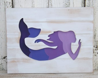 Purple~Lilac~ Mermaid Sign~Wood Mermaid Wall Art~Nautical~Beach House~Mermaid Decor