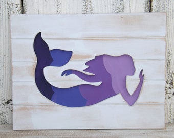 Wooden Mermaid Wall Art mermaid wall decorbeach housepool decormermaid