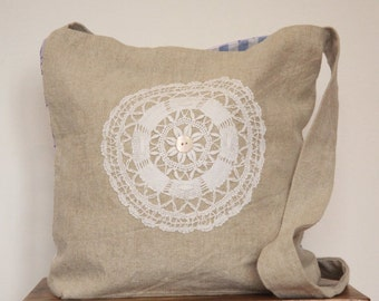 Linen Crossbody bag with lace