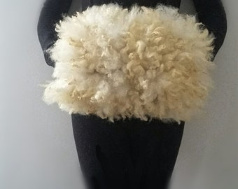 "white fur muff felted fleece ""sheepskin"" Wensleydale/Corriedale/Merino  Patty Ann"