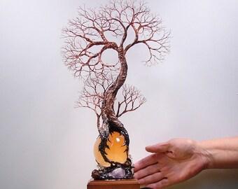 14 inch wire Tree Of Life sculpture, Ancient Grove Spirit, Selenite Sphere, LED gemstone lamp, Wedding gift, Anniversary, handmade metal art