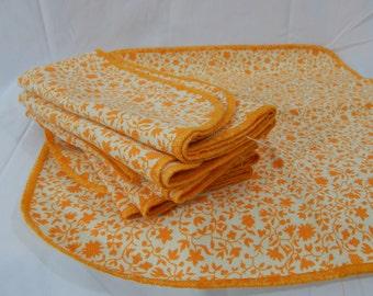 Vintage 60s Handmade Napkin Set of 8 - Orange Floral Accent