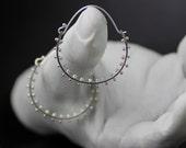 sterling silver hoop earrings - READY TO SHIP pinned pears modern art drop and dangle earrings, handmade in seattle by lolide