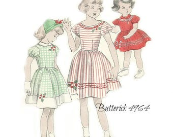 Butterick 4964 Girl Size 6 Dress Pattern Dirndl Dress with Two Neckline Variations